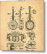 Dixie Banjolele Patent 1954 In Sepia Metal Print