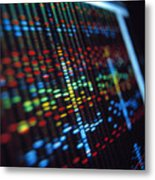 Dna Sequence On A Computer Monitor Screen Metal Print by Tek Image