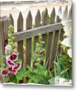 Do-00099 Fence-flowers Metal Print