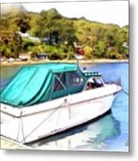 Do-00276 Green Boat In Killcare Metal Print