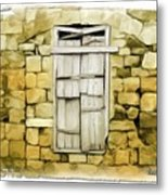 Do-00322 An Old Door And Wall Metal Print