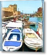 Do-00347 Boats In Byblos Port Metal Print
