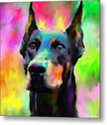 Doberman Pincher Dog Portrait Metal Print by Svetlana Novikova
