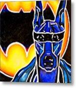 Dog Superhero Bat Metal Print