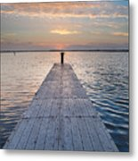 Dock On Arcata Bay At Twilight Metal Print