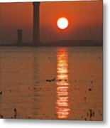 Dock Tower Sunrise Metal Print