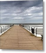 Dock With Benches, Saltburn, England Metal Print by John Short