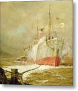 Docking A Cargo Ship Metal Print