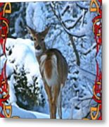 Doe In The Snow Metal Print