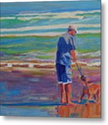Dog Beach Play Metal Print