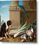 Dog Guarding A Hunting Trophy Metal Print