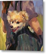 Dog In A Backpack Metal Print