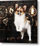 Dog On A Dark Background In The Style Of Steampunk Metal Print
