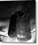 Dog Tags In Black And White Metal Print