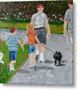 Dog Walkers Metal Print