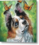 Dog With Butterflies Metal Print
