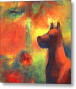 Dog With Red Flowers Metal Print