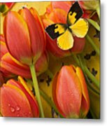 Dogface Butterfly And Tulips Metal Print