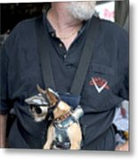 Doggie Biker Metal Print