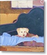 Doggy In The Guitar Case Metal Print