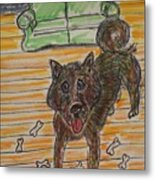 Doggy Snack Time Metal Print