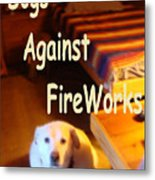 Dogs Against Fireworks Metal Print