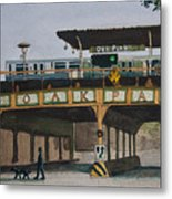 Dogs And Trains In The Village Metal Print