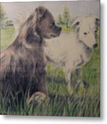 Dogs In A Field Metal Print