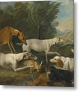 Dogs In A Landscape With Their Catch Metal Print
