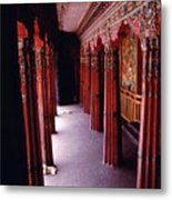 Dogs On Sera Monastery Porch - Lhasa Tibet Metal Print