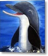 Dolphin Laughing Metal Print