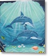 Dolphin Play Metal Print