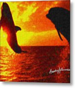Dolphins At Sunset Metal Print