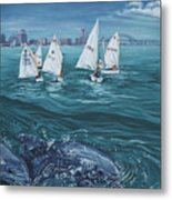 Dolphins In Corpus Christi Bay Metal Print