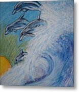 Dolphins Jumping In The Waves Metal Print