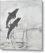 Dolphins Of The Sea Metal Print