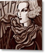 Dominique In Sepia Tone Metal Print