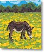 Donkey And Buttercup Field Metal Print