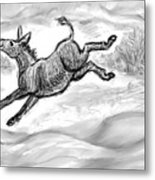 Donkey Frolicking In The Snow Metal Print