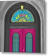 Door Fushia Metal Print