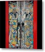 Door Gods With Red Door Frame Metal Print
