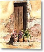 Door With Flowers Metal Print