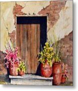 Door With Pots Metal Print