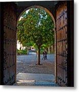 Doorway And Arch Between Gardens Metal Print