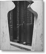 Doorway Black And White Metal Print