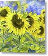 Dordogne Sunflowers Metal Print