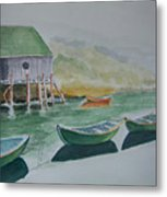 Dories In Waiting Metal Print