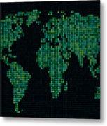 Dot Map Of The World - Green Metal Print by Michael Tompsett
