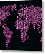 Dot Map Of The World - Pink Metal Print