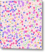 Dots On Pink Background Metal Print